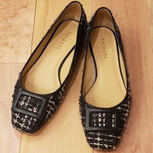 Talbots Black Tweed Flats with Black Buckle Accent